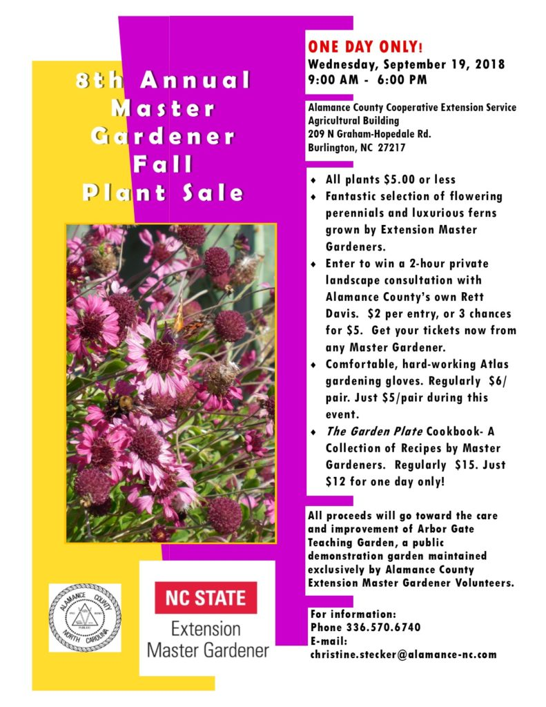 8th Annual Master Gardener Fall Plant Sale flyer