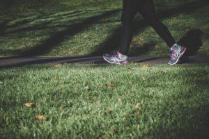 Woman walking on trail