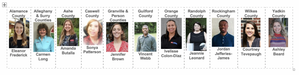 headshots of eleven FCS agents from across the Piedmont region of NC
