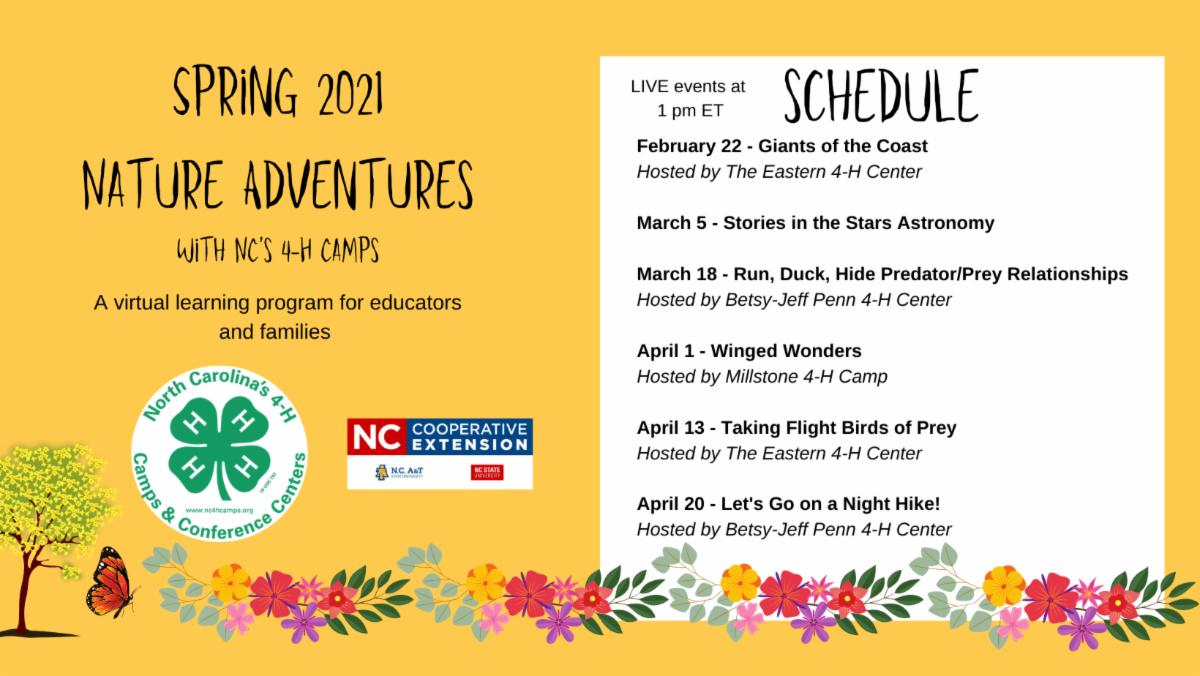 Nature Adventures Schedule Spring 2021