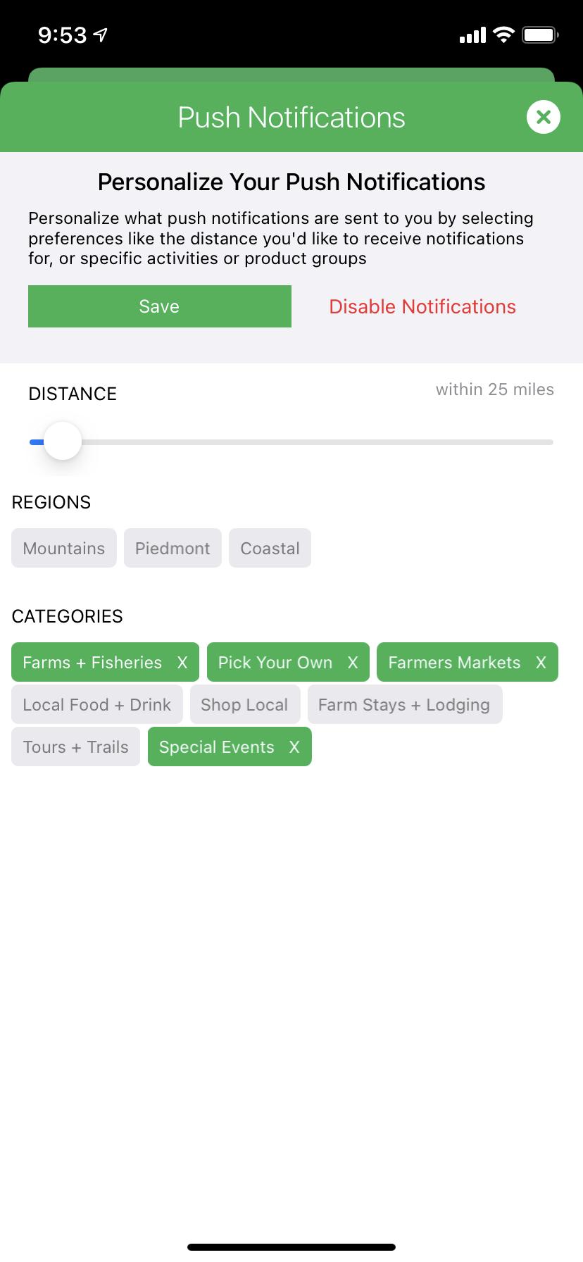 Visit NC Farms notifications settings screen