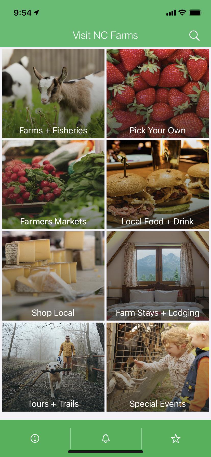 Visit NC Farms app homescreen