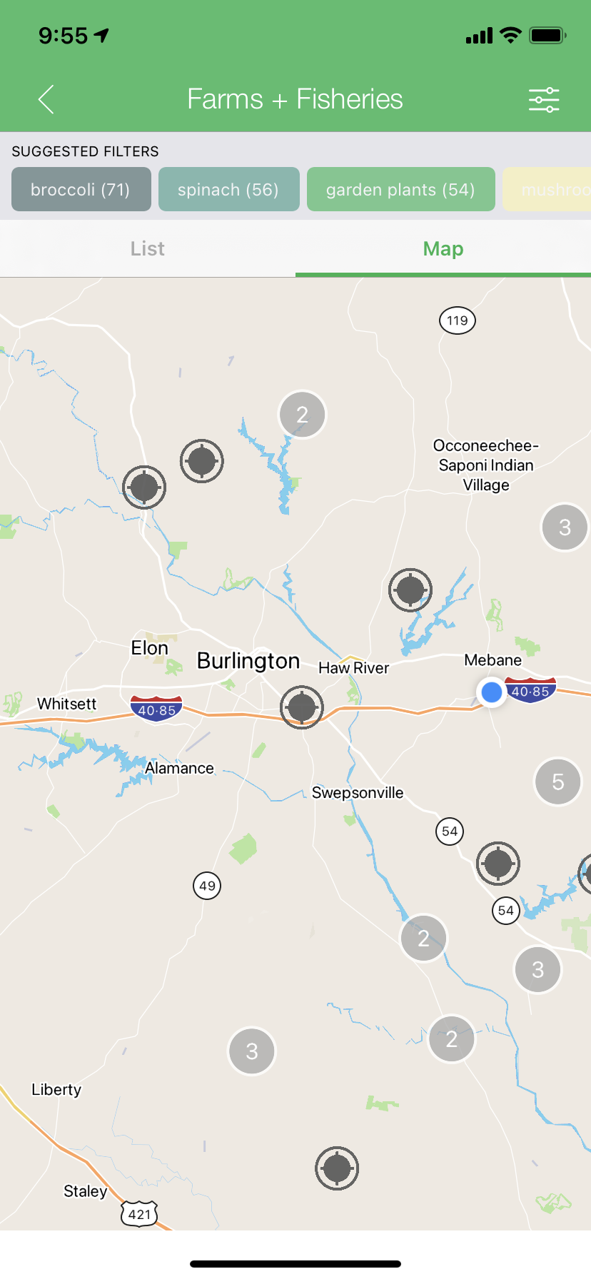 Map view in the Visit NC Farms app
