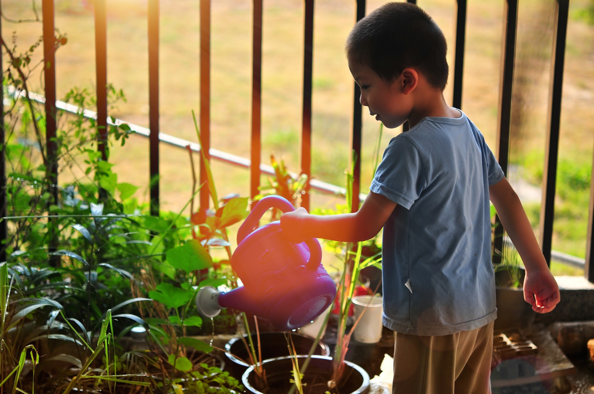 child watering garden with can