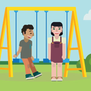 Graphic of young people on playground swing